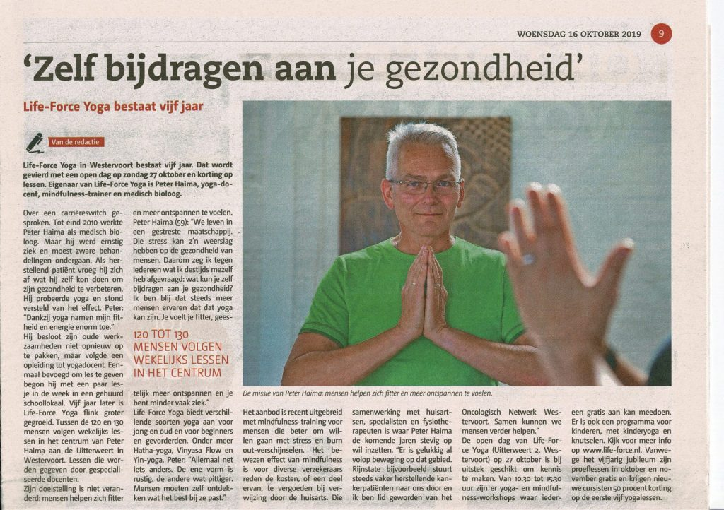 5 jaar Life-Force Yoga 16 okt. 2019